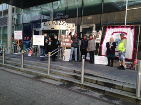 Belfast Picket with solidarity cyclists from UCUatQueens